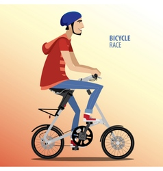 Man on fashionable folding bike vector