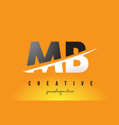Mb m b letter modern logo design with yellow vector