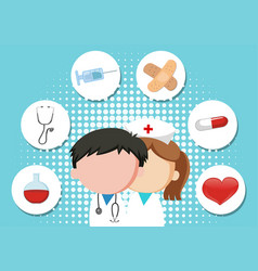 medical theme background with doctor and vector image