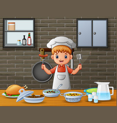 Men in chefs clothing serve food at the dining tab vector