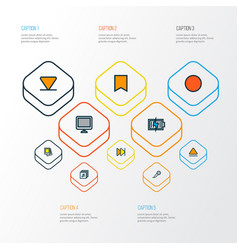 Multimedia icons colored line set with display vector