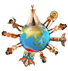 Native american indians around the world vector