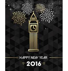 New Year 2016 london uk europe travel gold vector image