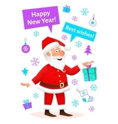 New Year card Santa Claus cartoon character vector image