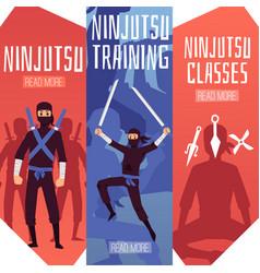Ninjutsu training classes banner template set vector