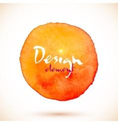 Orange watercolor circle design element vector image