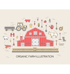 Organic farm in village set and tile in thin lines vector
