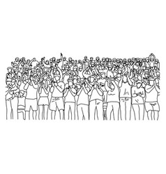 outline crowd people on stadium vector image