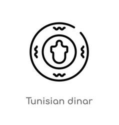Outline tunisian dinar icon isolated black simple vector