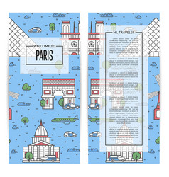 paris traveling flyers set in linear style vector image