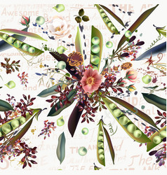 pattern with flowers and pears for design vector image