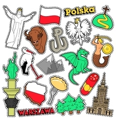 Poland Travel Scrapbook Stickers Patches Badges vector image