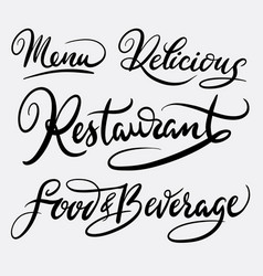 restaurant and menu hand written typography vector image