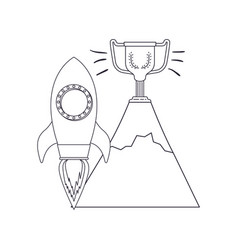Rocket with trophy isolated icon vector