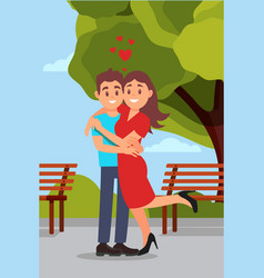 romantic couple hugging in park woman raising leg vector image