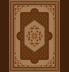 Rug oriental ornament in brown and yellow shade vector