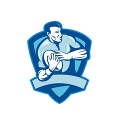 Rugby player running with ball with shield vector image