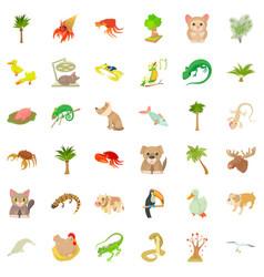 sand plant icons set cartoon style vector image