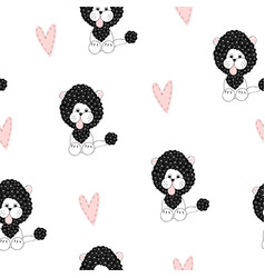 Seamless pattern with cute lion vector