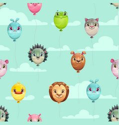 Seamless pattern with funny animal balloons on the vector