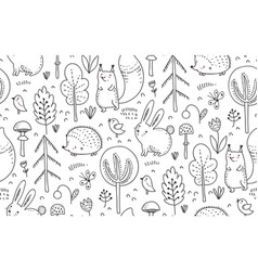 Seamless pattern with hand drawn wild vector