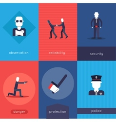 Security guard mini poster set vector image