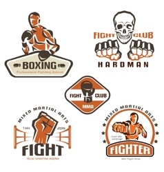 Set of fighting club emblems MMA boxing labels and vector image