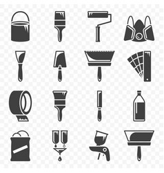 set of icons related to painting and paint work vector image