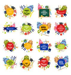 set of welcome back to school badge vector image