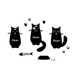 set with three funny cats vector image