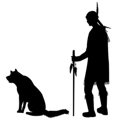 Silhouettes of an American Indian with his dog vector image vector image