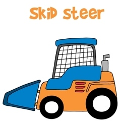 Skid steer cartoon art vector image