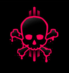 skull with a bright red outline with paint stains vector image