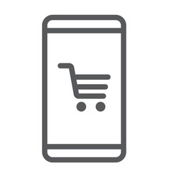 smartphone with open store application line icon vector image