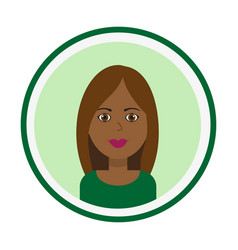 Smiling girl face with brown long hair vector