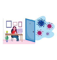 Stay at home young woman teleworking with laptop vector