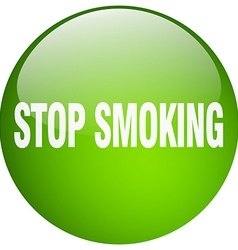 Stop smoking green round gel isolated push button vector