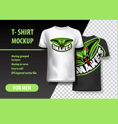 T-shirt mockup with snakes phrase in two colors vector