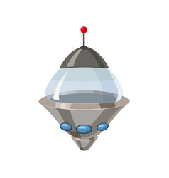 Ufo flying spaceship isolated on white cartoon vector