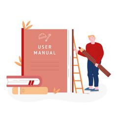 User manual tutorial concept user reading vector