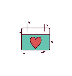 valentines heart shape calendar icon design vector image