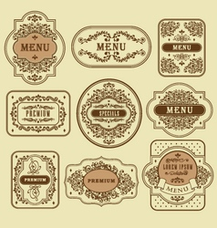 Vintage floral decorative label template vector