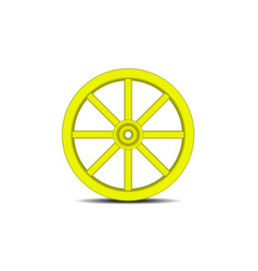 Vintage wooden wheel in yellow design with shadow vector
