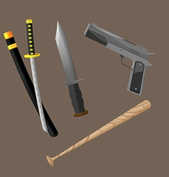 Weapon Fight Crime Security Set vector image