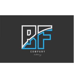 White blue alphabet letter bf b f logo icon design vector