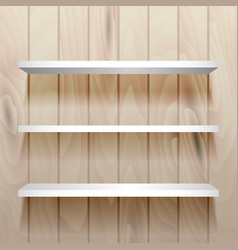 White empty shelves on the wall vector