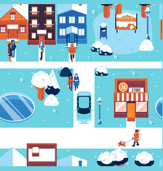 Winter city landscape seamless pattern in flat vector