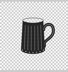 wooden beer mug icon on transparent background vector image