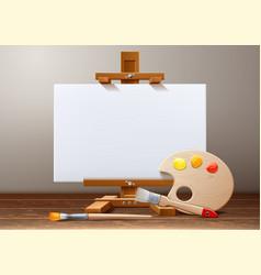 wooden easel canvas paint palette brush vector image