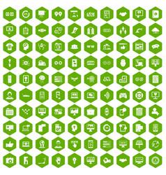 100 interface icons hexagon green vector